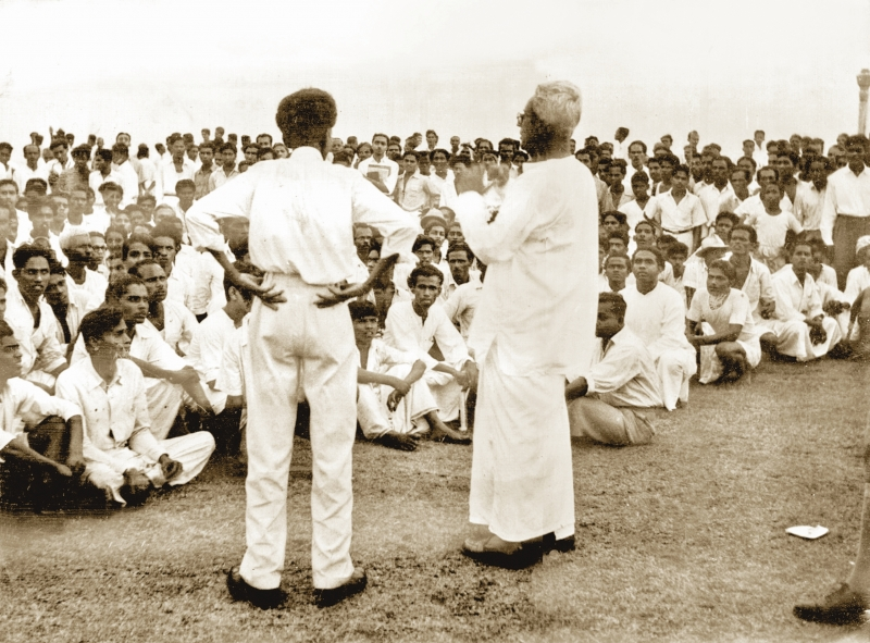 LHM addresses crowd in 1956